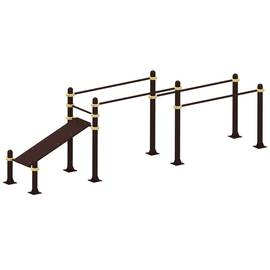 Спортивные уличные брусья + скамья для пресса YSK52, Диаметр несущей трубы: 76 мм (частное использование), Заглушка для стоек: АБС-ПЛАСТИК, Материал скамьи: Мебельный щит толщиной 28 мм, фото