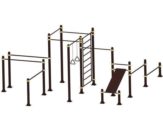 Площадка для воркаута Базовая Н-30 YSK93, Диаметр несущей трубы: 76 мм (частное использование), Заглушка для стоек: АБС-ПЛАСТИК, Материал скамьи: Мебельный щит толщиной 28 мм, фото