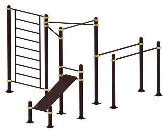 Спортивный комплекс В YSK68, Диаметр несущей трубы: 76 мм (частное использование), Заглушка для стоек: АБС-ПЛАСТИК, Материал скамьи: Мебельный щит толщиной 28 мм, фото