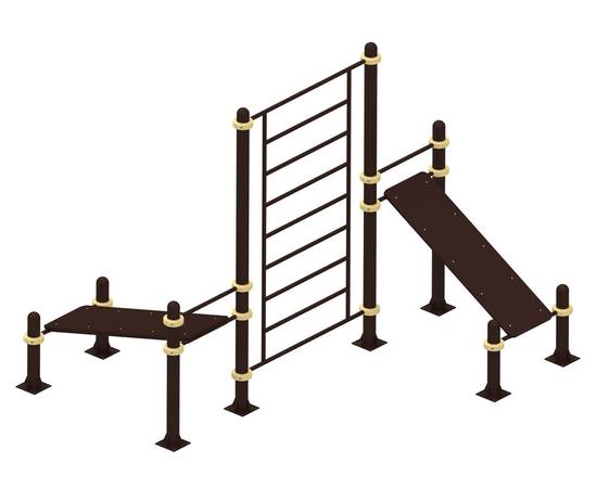 Лавочки для пресса и шведская стенка YSK76, Диаметр несущей трубы: 76 мм (частное использование), Заглушка для стоек: АБС-ПЛАСТИК, Материал скамьи: Мебельный щит толщиной 28 мм, фото