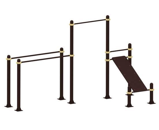 Турник, брусья, скамья для пресса YSK45, Диаметр несущей трубы: 76 мм (частное использование), Заглушка для стоек: АБС-ПЛАСТИК, Материал скамьи: Мебельный щит толщиной 28 мм, фото