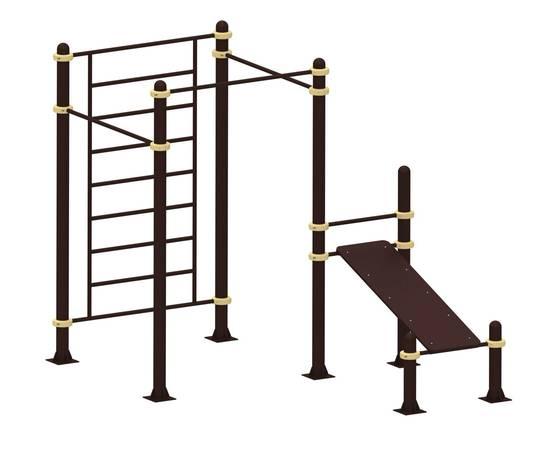 Шведская стенка, три турника и скамья для пресса YSK57, Диаметр несущей трубы: 76 мм (частное использование), Заглушка для стоек: АБС-ПЛАСТИК, Материал скамьи: Мебельный щит толщиной 28 мм, фото