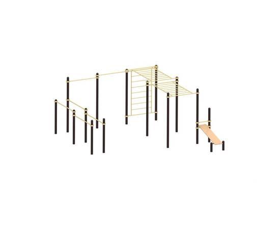 Уличный комплекс 61 YSK88, Диаметр несущей трубы: 76 мм (частное использование), Заглушка для стоек: АБС-ПЛАСТИК, Материал скамьи: Мебельный щит толщиной 28 мм, фото