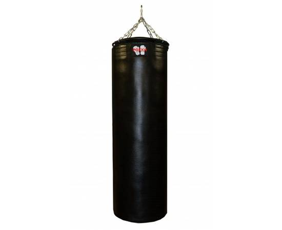 Боксерский мешок Рокки натуральная кожа 130 см, диаметр 40 см, вес 55 кг, цвет черный, фото