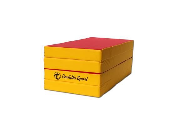 Мат гимнастический складной PERFETTO SPORT № 5 (100 х 200 х 10) см красно/жёлтый, Цвет: Красно/жёлтый, фото