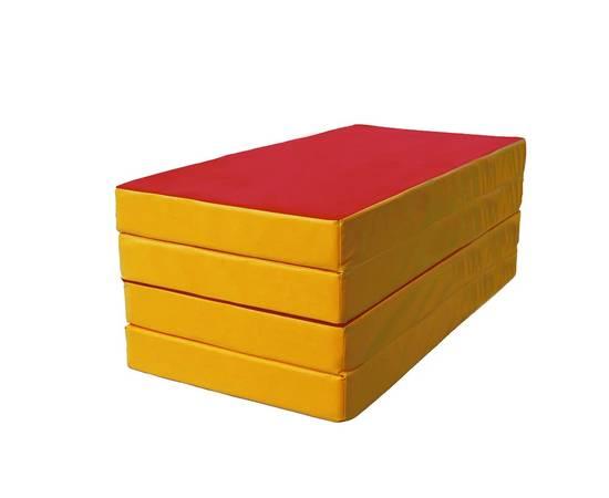 Мат гимнастический складной № 5 (100 х 200 х 10) см красно/жёлтый, Цвет: Красно/жёлтый, фото