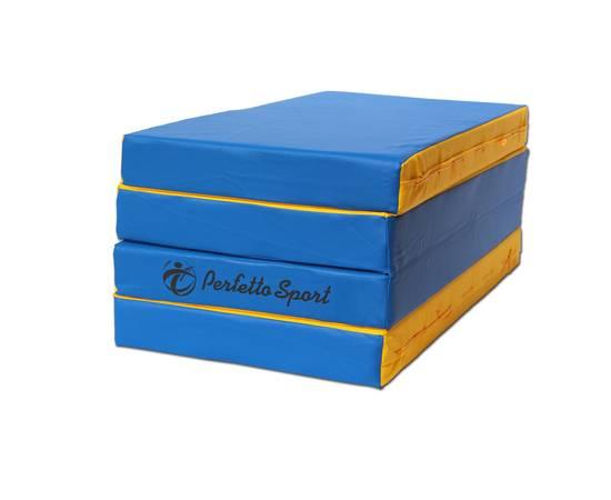 Мат гимнастический складной PERFETTO SPORT № 5 (100 х 200 х 10) см сине/жёлтый, Цвет: Сине/жёлтый, фото