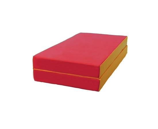Мат гимнастический складной № 3 (100 х 100 х 10) см красно/жёлтый, Цвет: Красно/жёлтый, фото