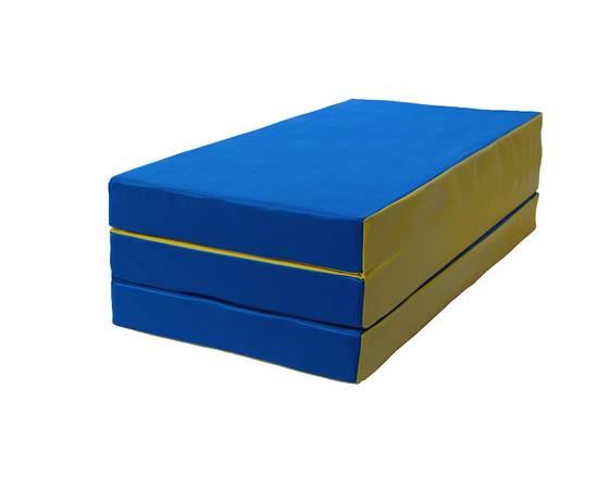 Мат гимнастический складной № 4 (100 х 150 х 10) см сине/жёлтый, Цвет: Сине/жёлтый, фото