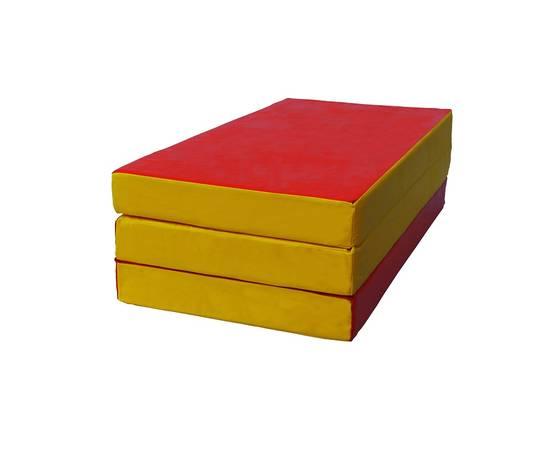 Мат гимнастический складной № 4 (100 х 150 х 10) см красно/жёлтый, Цвет: Красно/жёлтый, фото