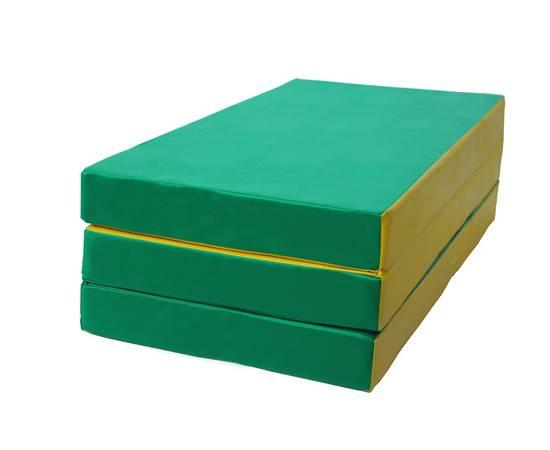 Мат гимнастический складной № 4 (100 х 150 х 10) см зелёно/жёлтый, Цвет: Зелёно/жёлтый, фото