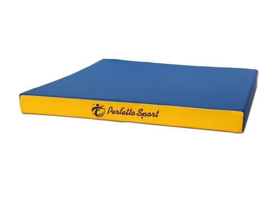 Мат гимнастический PERFETTO SPORT № 2 (100 х 100 х 10) см сине/жёлтый, Цвет: Сине/жёлтый, фото