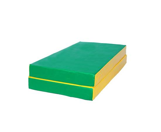Мат гимнастический складной № 3 (100 х 100 х 10) см зелёно/жёлтый, Цвет: Зелёно/жёлтый, фото