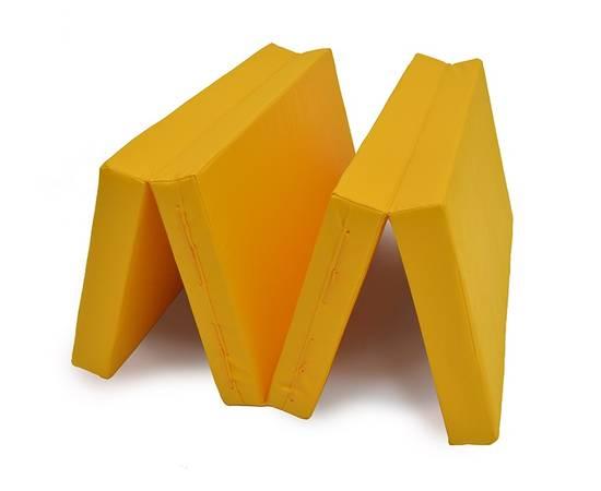 Мат гимнастический складной № 5 (100 х 200 х 10) см жёлтый, Цвет: Жёлтый, фото