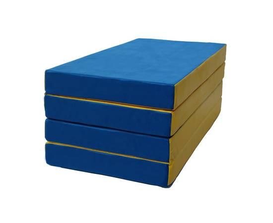 Мат гимнастический складной № 5 (100 х 200 х 10) см сине/жёлтый, Цвет: Сине/жёлтый, фото