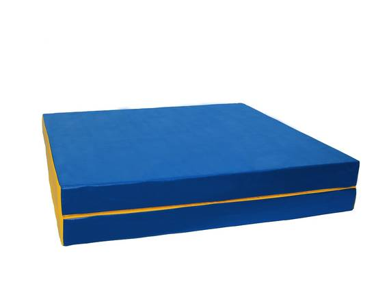 Мат гимнастический складной №8 (100 х 200 х 10) см сине/жёлтый 1 сложение, Цвет: Сине/жёлтый, фото