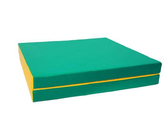 Мат гимнастический складной №8 (100 х 200 х 10) см зелёно/жёлтый 1 сложение, Цвет: Зелёно/жёлтый, фото